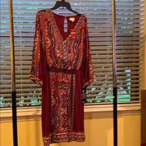 Avenue maroon with design long sleeve dress